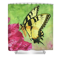 Butterfly On The Bougainvillea Shower Curtain