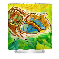 Malachite Butterfly Delight Shower Curtain