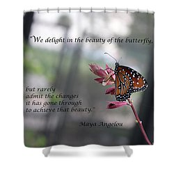 Butterfly Quote Art Print Shower Curtain