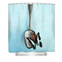 Butterfly Resting On Antique Spoon Shower Curtain