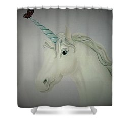 Butterfly Resting On Unicorn Shower Curtain
