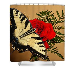 Butterfly Rose Shower Curtain by Rick Friedle