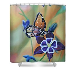 Shower Curtain featuring the painting Butterfly Series#4 by Dianna Lewis