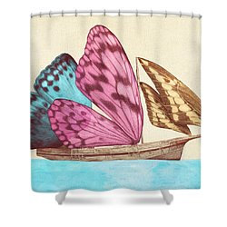 Butterfly Ship Shower Curtain by Eric Fan