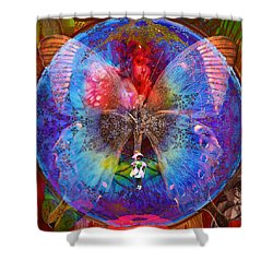 Butterfly Sisterly City Love Shower Curtain