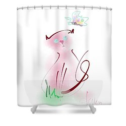 Shower Curtain featuring the mixed media Butterfly Surprise by Larry Talley
