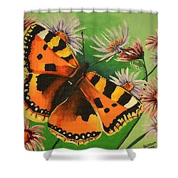Butterfly With Asters Shower Curtain
