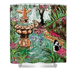 Butterfly World Shower Curtain by Jean Pacheco Ravinski