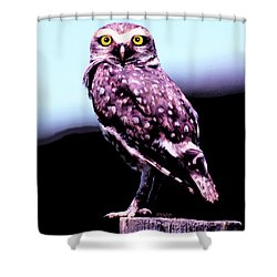 Shower Curtain featuring the painting Burrowing Owl by Marian Cates