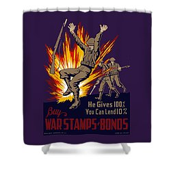 Buy War Stamps And Bonds Shower Curtain by War Is Hell Store