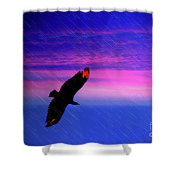 Buzzard In The Rain Shower Curtain by Al Bourassa