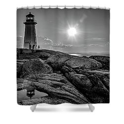 Bw Of Iconic Lighthouse At Peggys Cove  Shower Curtain by Ken Morris