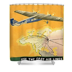 By Air To Ussr With The Soviet Union's Chief Cities - Vintage Poster Restored Shower Curtain