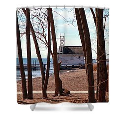 Shower Curtain featuring the photograph By The Lake by Valentino Visentini