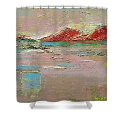 Shower Curtain featuring the painting By The River by Becky Kim