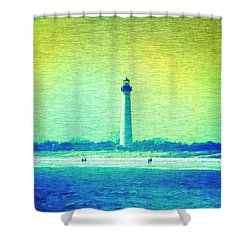By The Sea - Cape May Lighthouse Shower Curtain by Bill Cannon