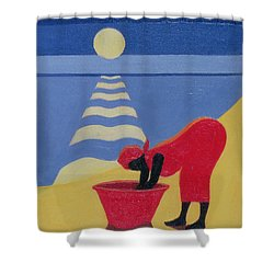 By The Sea Shore Shower Curtain by Tilly Willis