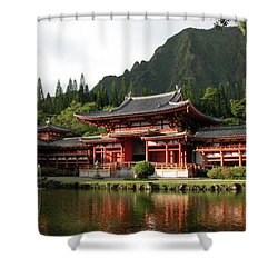 Shower Curtain featuring the photograph Byodo-in Temple, Oahu, Hawaii by Mark Czerniec