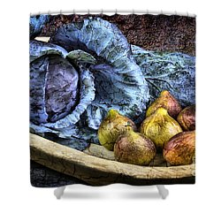 Cabbage And Figs Shower Curtain by Sari Sauls