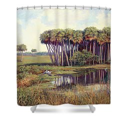 Cabbage Palm Hammock Shower Curtain by Laurie Hein