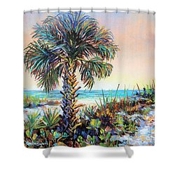 Cabbage Palm On Siesta Key Beach Shower Curtain by Lou Ann Bagnall