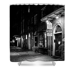 Cabildo Alley At Night In Black And White Shower Curtain