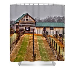 Cabin At Autumn Creek Vineyard Shower Curtain by Christy Ricafrente
