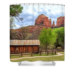 Shower Curtain featuring the photograph Cabin At Cathedral Rock by James Eddy