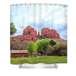 Shower Curtain featuring the photograph Cabin At Cathedral Rock Panorama by James Eddy