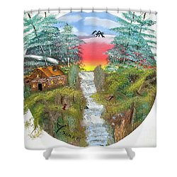Cabin By The Falls Shower Curtain