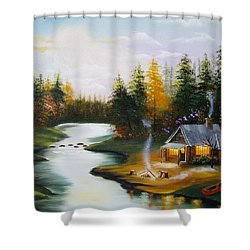 Cabin By The River Shower Curtain
