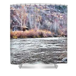 Cabin By The River In Steamboat,co Shower Curtain by James Steele