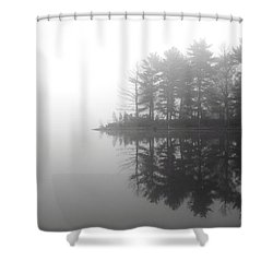 Cabin In The Foggy Woods Shower Curtain