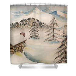 Cabin In The Rockies Shower Curtain