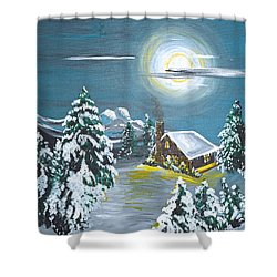 Cabin In The Woods Shower Curtain by Donna Blossom