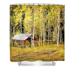 Cabin In The Golden Woods Shower Curtain by Karen Shackles