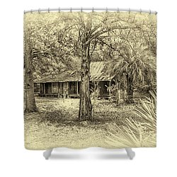Shower Curtain featuring the photograph Cabin In The Woods by Louis Ferreira