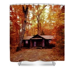 Shower Curtain featuring the painting Cabin In The Woods P D P by David Dehner