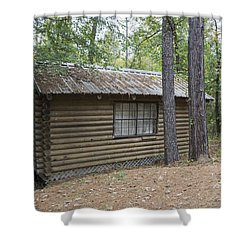Cabin In The Woods Shower Curtain by Ricky Dean