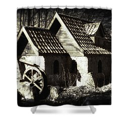 Cabin In The Woods Shower Curtain by Wim Lanclus
