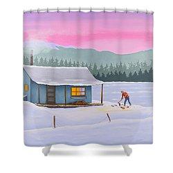 Cabin On A Frozen Lake Shower Curtain