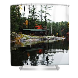 Cabin On The Rocks Shower Curtain