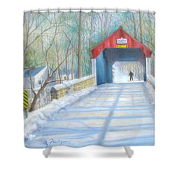 Cabin Run Bridge In Winter Shower Curtain