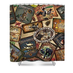 Cabin Sign Collage Shower Curtain