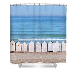 Shower Curtain featuring the photograph Cabins by Delphimages Photo Creations