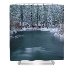 Shower Curtain featuring the photograph Cabins On The Metolius by Cat Connor