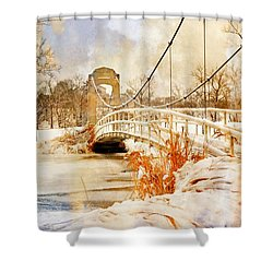 Shower Curtain featuring the photograph Cable Bridge by Marty Koch