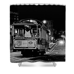 Cable Car At Night - San Francisco Shower Curtain