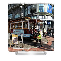 Cable Car At Union Square Shower Curtain