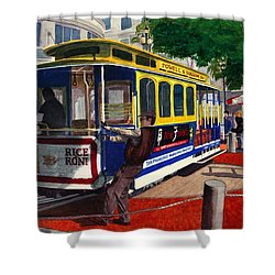 Cable Car Turntable At Powell And Market Sts. Shower Curtain by Mike Robles
